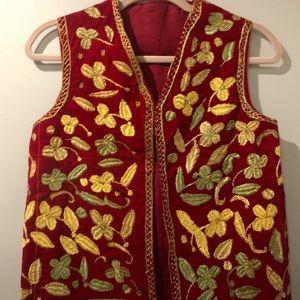 Vintage Handmade Velvet & Needlepoint Vest